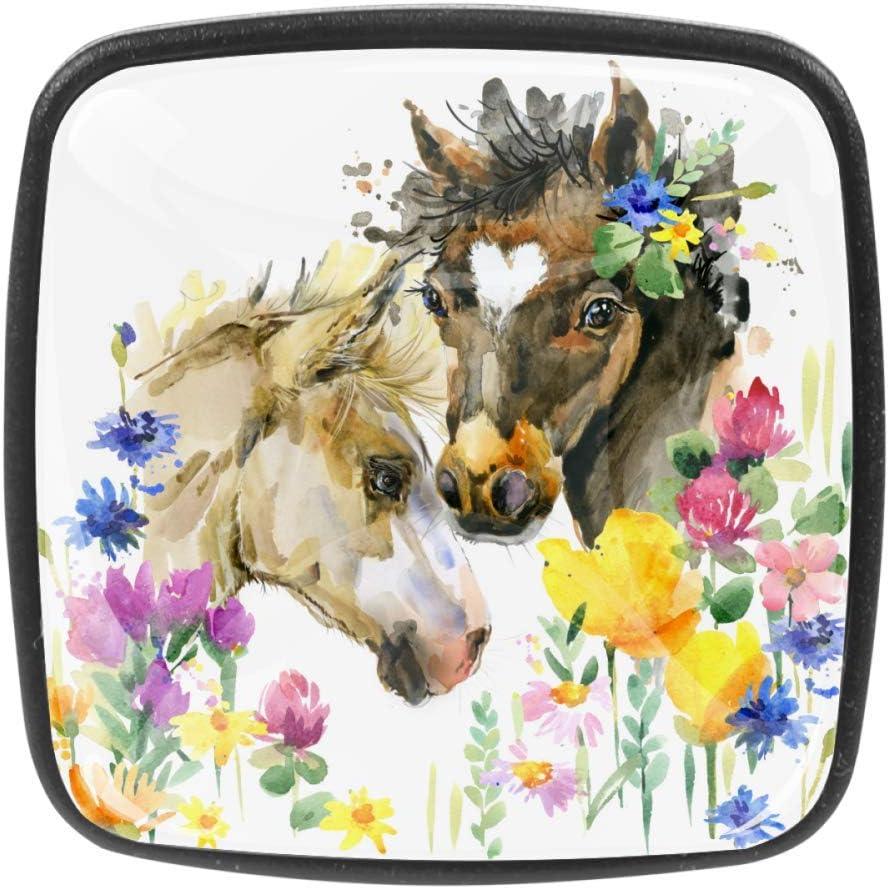 Pomos cuadrados para armario, 4 unidades, para vestidor, gabinete, palmera exótica, jirafa, color blanco, Blanco lindo caballo en flores, Knobs 1.18x0.82x0.78 in/3x2.1x2 cm