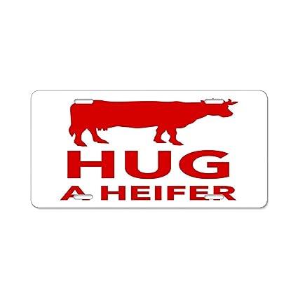 Amazon.com: KuyuqudGVg Hug a Heifer License Plate Frame, Automobile ...