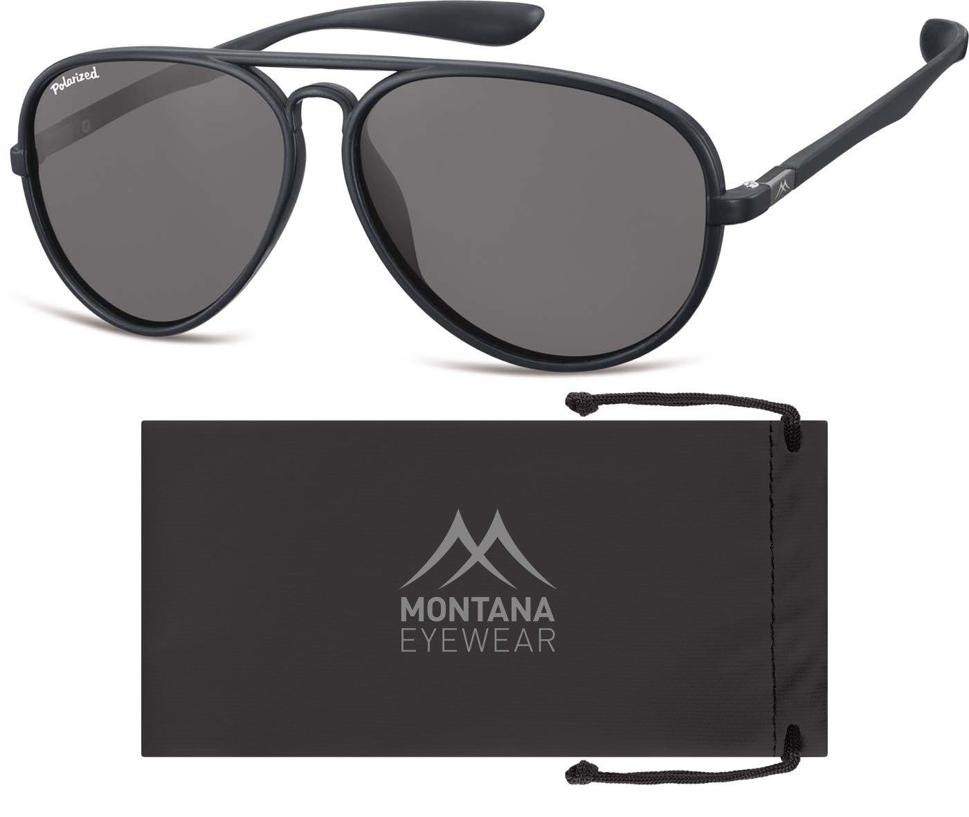 Montana MP29, Occhiali da Sole Unisex-Adulto, Multicoloured (Black/Smoked Lenses), Taglia unica