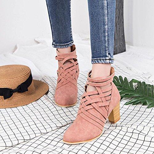 Sikye Dames Femmes Wedge Chaussure Boucle Biker À Talons Hauts Cheville Zip Chaussures Rose