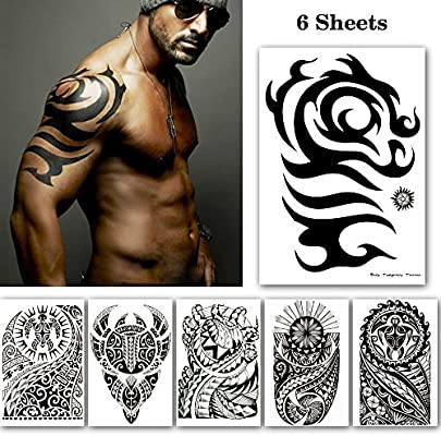 Leoars Black Large Temporary Tattoos Big Tribal Totem Tattoo Sticker For Men Women Body Art Makeup Fake Tattoo Waterproof Removable 6 Sheet Amazon Sg Beauty