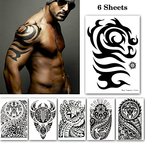 Leoars 6 Sheets Black Large Temporary Tattoos Big Tribal Totem Tattoo Sticker for Men Women Body Art Makeup Fake Tattoo Waterproof Removable