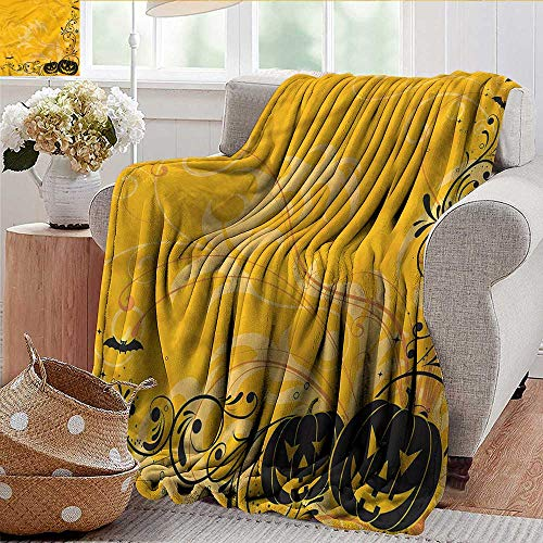 Xaviera Doherty Travel Blanket Halloween,Pumpkins Bats Halloween Soft, Fuzzy, Cozy, Lightweight Blankets 50