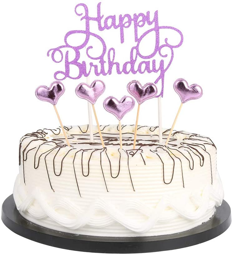 Amazon Com Purple Happy Birthday Cake Toppers Letters Happy Birthday And Love Star Party Toys Games