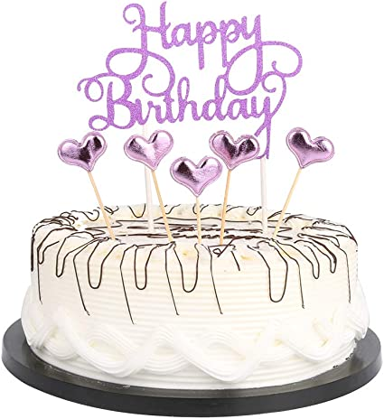 Awe Inspiring Amazon Com Purple Happy Birthday Cake Toppers Lettershappy Funny Birthday Cards Online Alyptdamsfinfo