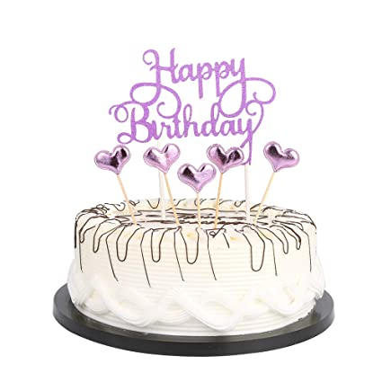 Amazon.com: Purple Happy Birthday Cake Toppers letters