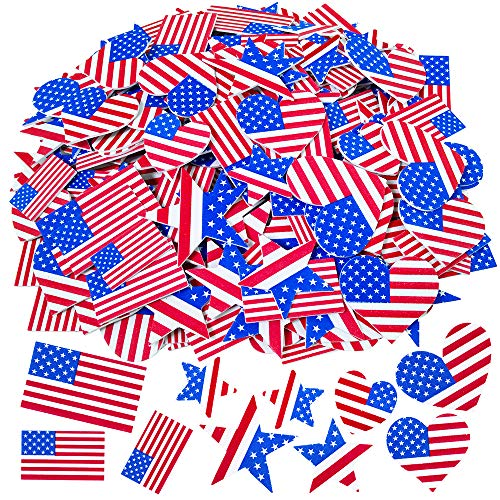 Patriotic Stickers 4th of July Foam Stickers USA Flag Stickers Red Blue White Foam American Flag Stickers American Flag Heart Star Foam Stickers Self Adhesive 220 Pcs 3 Sizes 3 Shapes for Kids Craft