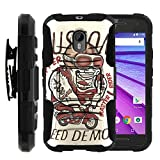 Motorola Moto G 3rd Gen (2015) , Full Body Rugged Armor Shell Belt Holster Clip Case with Exclusive Illustrations by Miniturtle - Custom Copper Speed Demon