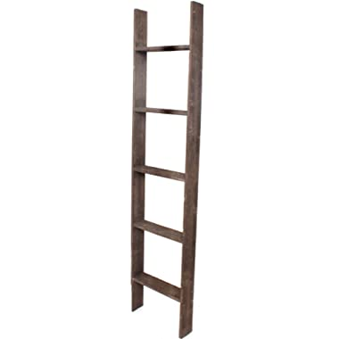 BarnwoodUSA Rustic 5 Foot Decorative Wooden Display Ladder - 100% Reclaimed Wood, Brown