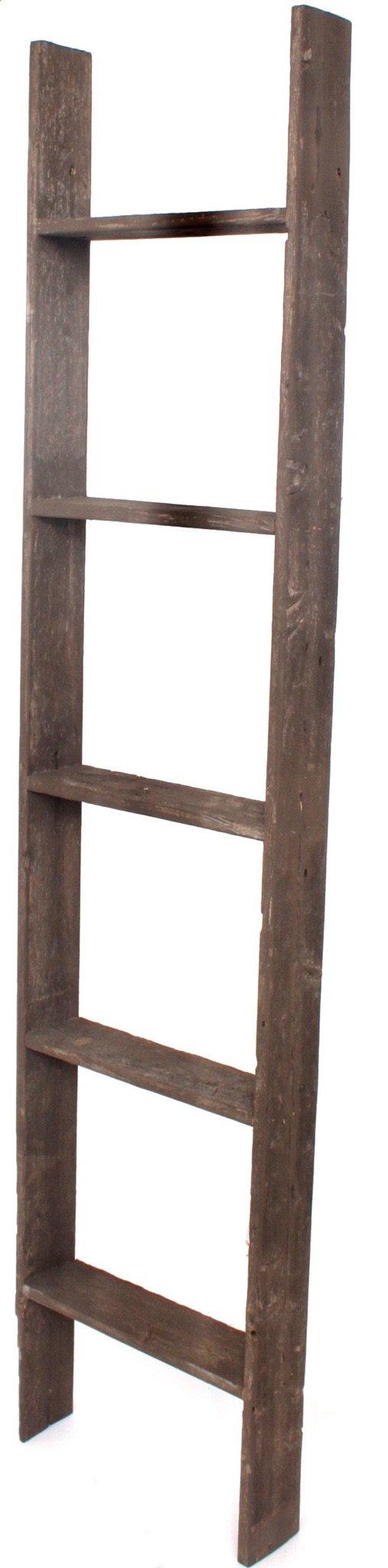 BarnwoodUSA Rustic 5 Foot Decorative Wooden Display Ladder - 100% Reclaimed Wood, Brown