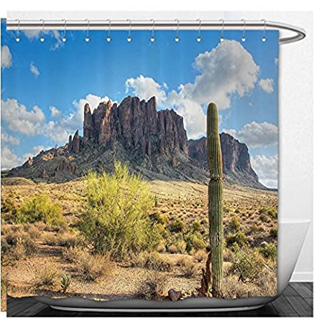 Beshowere Shower Curtain Saguaro CactuDecor Set FamouCanyon Cliff with Dramatic Cloudy Sky Southwest Terrain Place Nature Bathroom Accessorie Extralong Brown Green - Terrain Wonder Wash