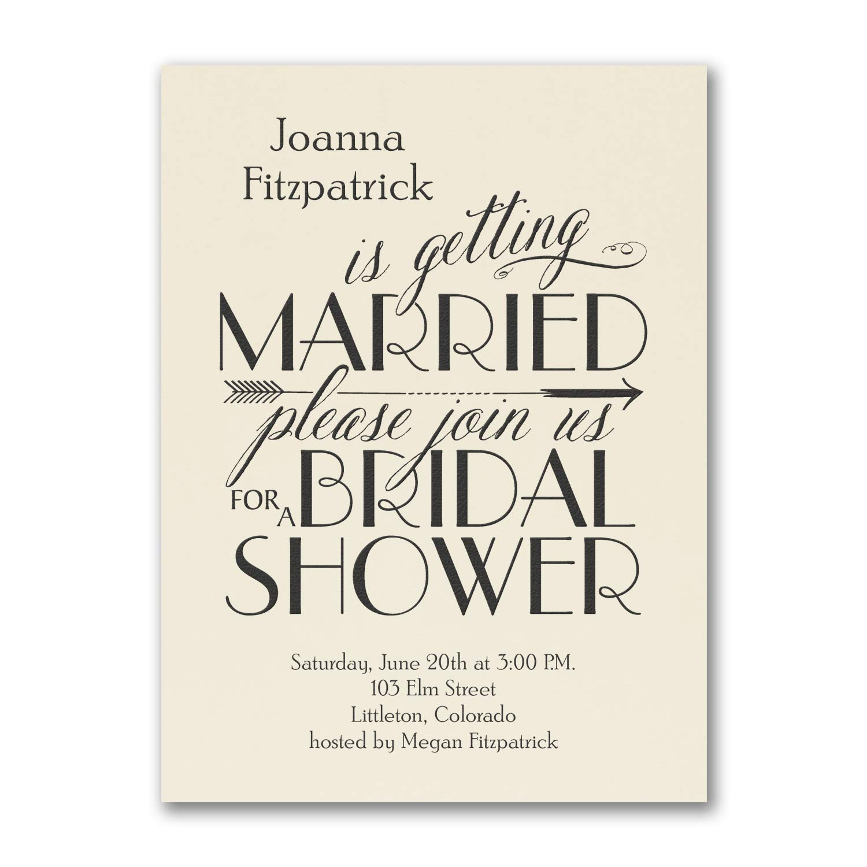 200pk Curls and Arrow - Invitation - Ecru-Bridal Shower Invitations