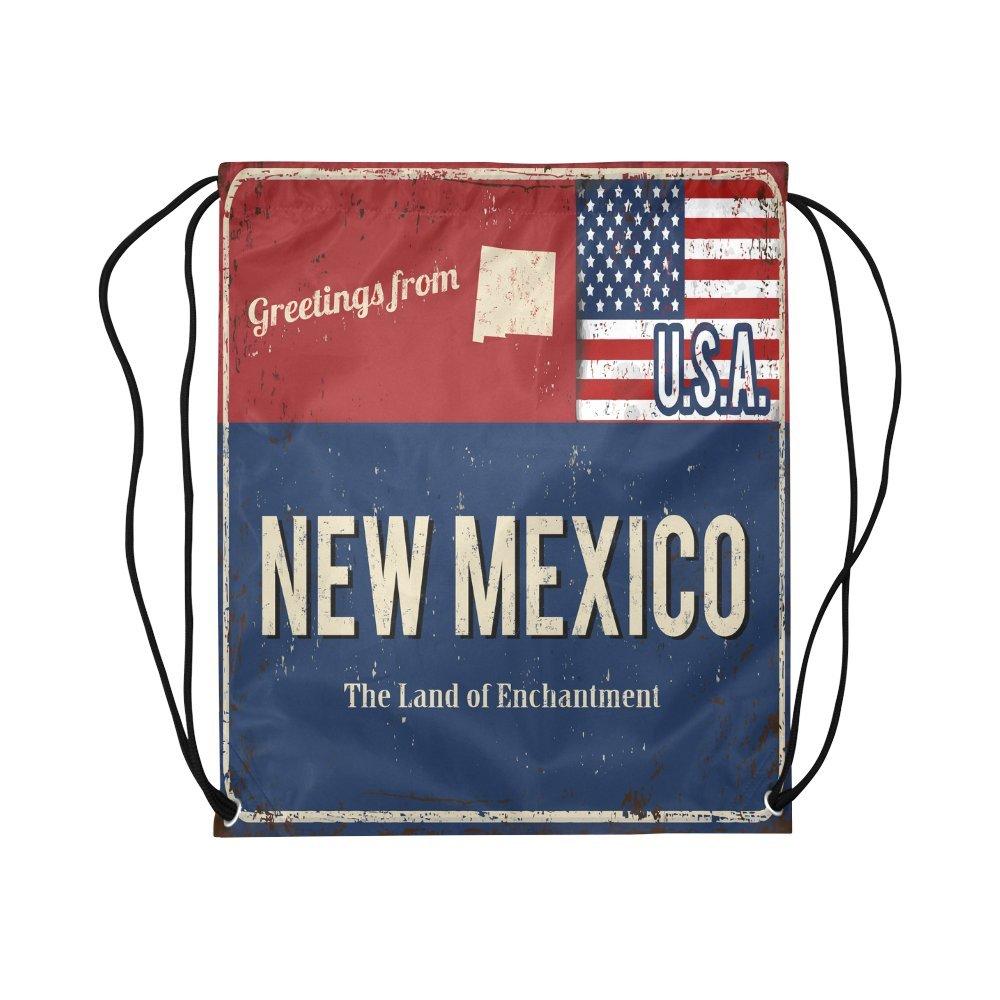 interestprint Greetings From Michigan Rustyメタルサインwith American Flag学校旅行用デイパックジムバッグ、バスケットボールポリエステルドローストリングバッグバックパック – 16.5