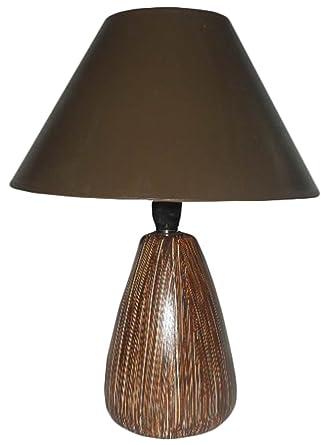 abatjour lámpara Tulipa lumetto de cerámica marrón para mesilla ...