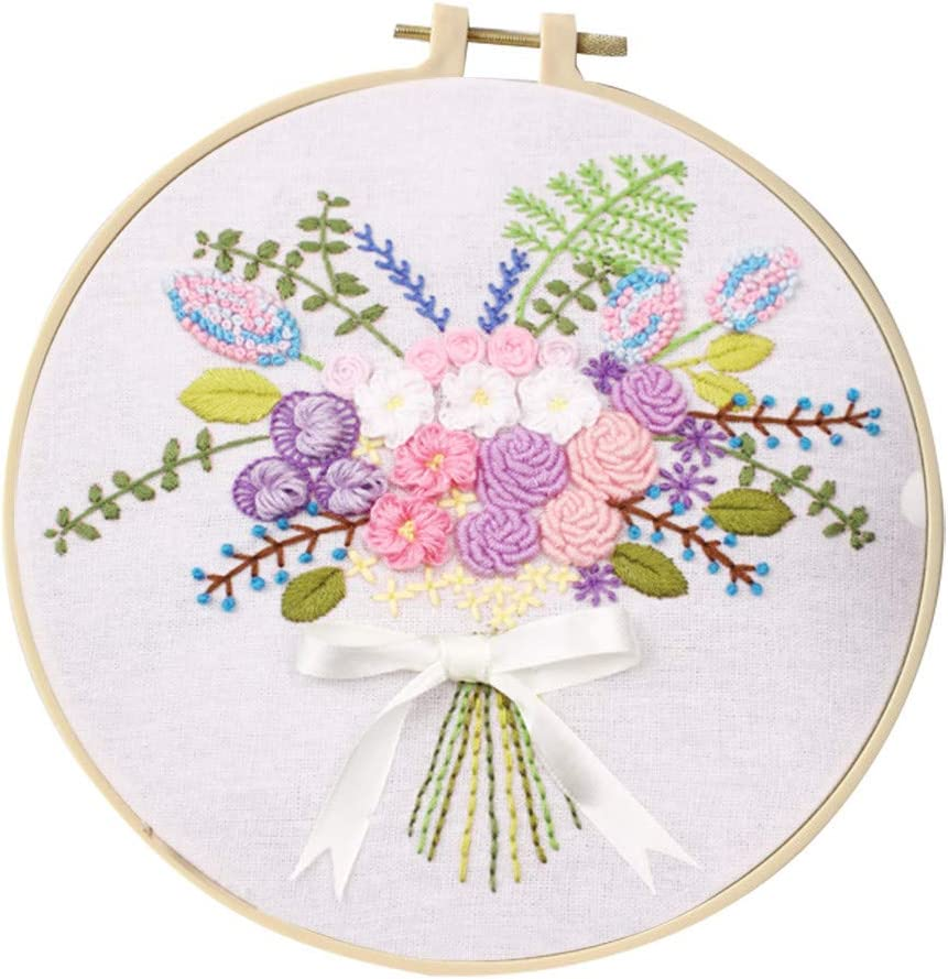 Color Threads Embroidery Kit Bamboo Hoop Cross Stitch Kit Including Embroidery Cloth with Floral Pattern Diagram and Starter Tools Kit