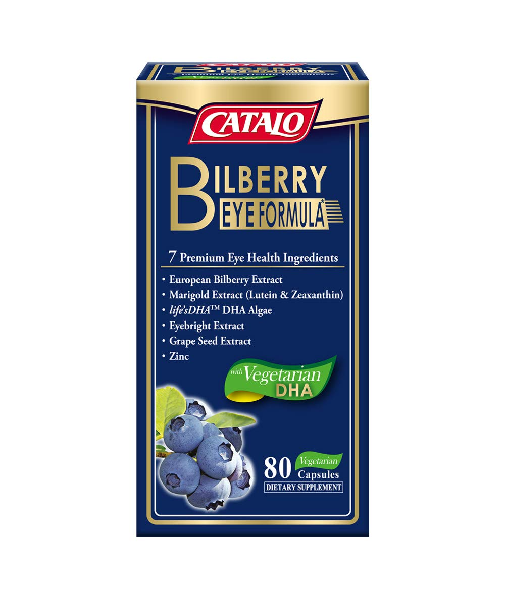 CATALO - Bilberry Eye Formula, Relieve Eye Fatigue, Re-Hydrating, Eye Protection, Bilberry Extract, Lutein and Zeaxanthin from Marigold Extract, 80 Vegetarian Capsules
