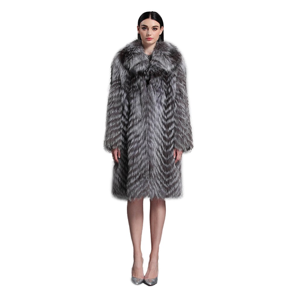 Women's Long Real Silver Fox Fur Coat with Fox Fur Collar Thick Warm Coat Full Sleeve US 8 - Fur Story by Furstory