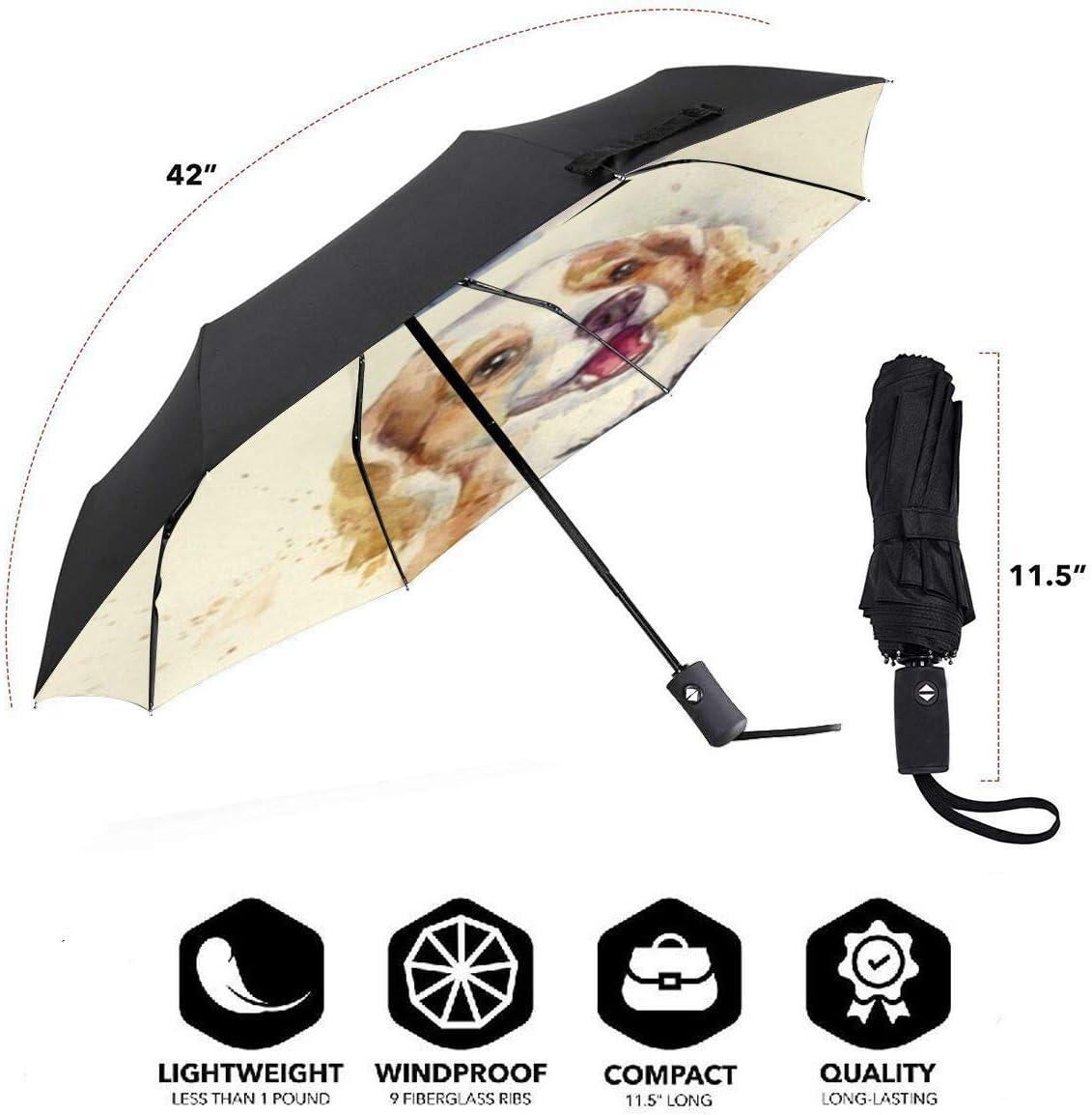 NA The Smiling Dog Automatic Tri-fold Umbrella Inside Print One Size