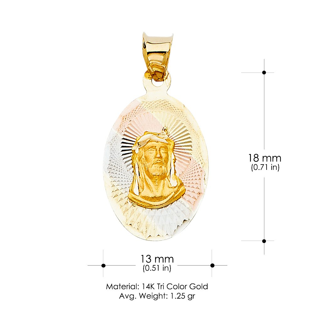 14K Tri Color Gold Religious Jesus Stamp Charm Pendant For Necklace or Chain Ioka