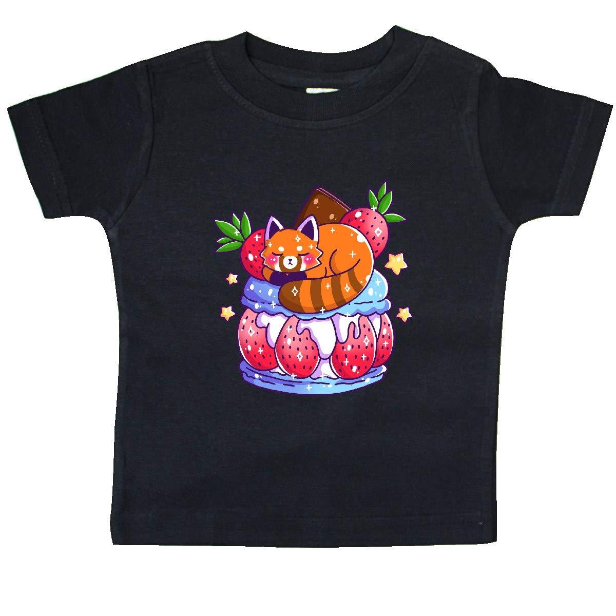 inktastic Cute Red Panda Sleeping on Macaron with Strawberries Baby T-Shirt
