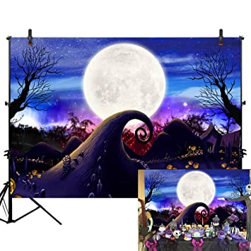 Allenjoy 7x5ft Nightmare Before Christmas Backdrop Halloween Pumpkin Jack Banner Happy First 1st Birthday Photography Background Moonlight Girls Boys
