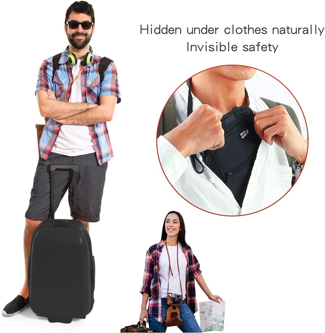 Eono by Cards Keys /& Passport with Adjustable Neck Strap RFID Hidden Security Neck Money Pouch for Cash Travel Neck Wallet with Multi-Pockets