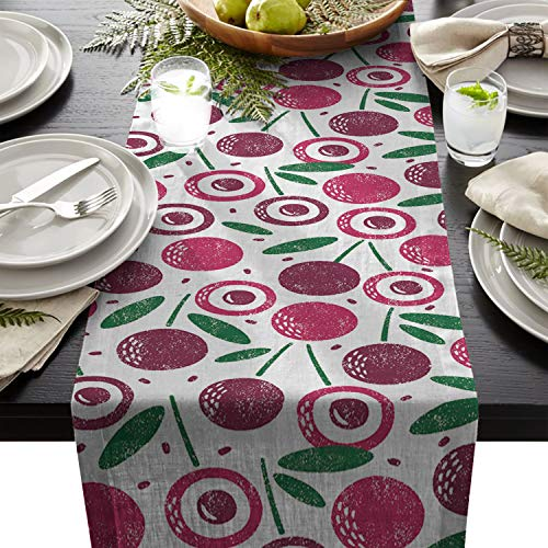 (Seven Sunshine Cherries Pattern Cotton Linen Burlap Table Runner Fruit Home Decorative Table Cloth Cover for Kitchen Dining Banquet Party/Parties Tabletop Picnic Dinner 13×90inch)