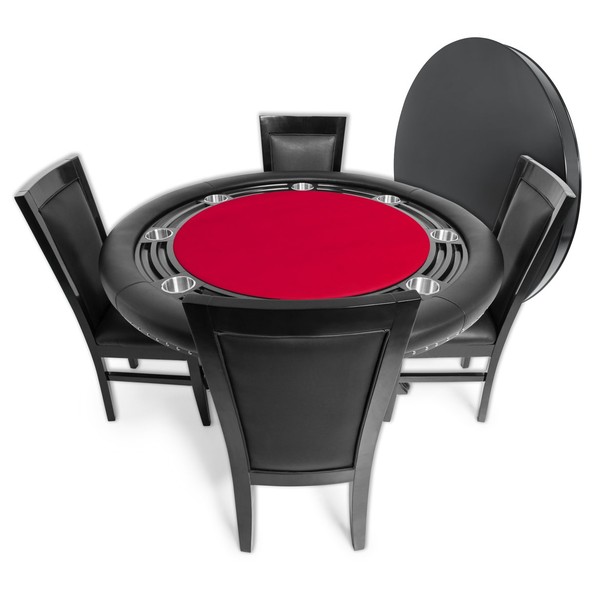 BBO Poker Nighthawk Poker Table for 8 Players with Red Felt Playing Surface, 55-Inch Round, Includes Matching Dining Top with 4 Dining Chairs