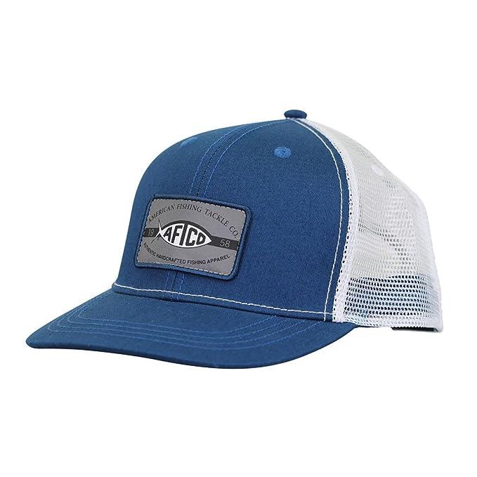 b6f4b7cb0abf3 Amazon.com: AFTCO Patch Trucker Hat (Blue Steel): Clothing