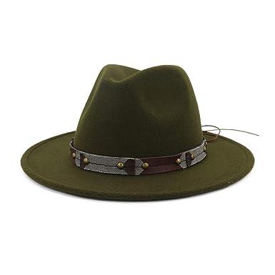 0362ce7aa DOSOMI Wide Brim Wool Felt Fedora Men Women Panama Hats Jazz Formal ...