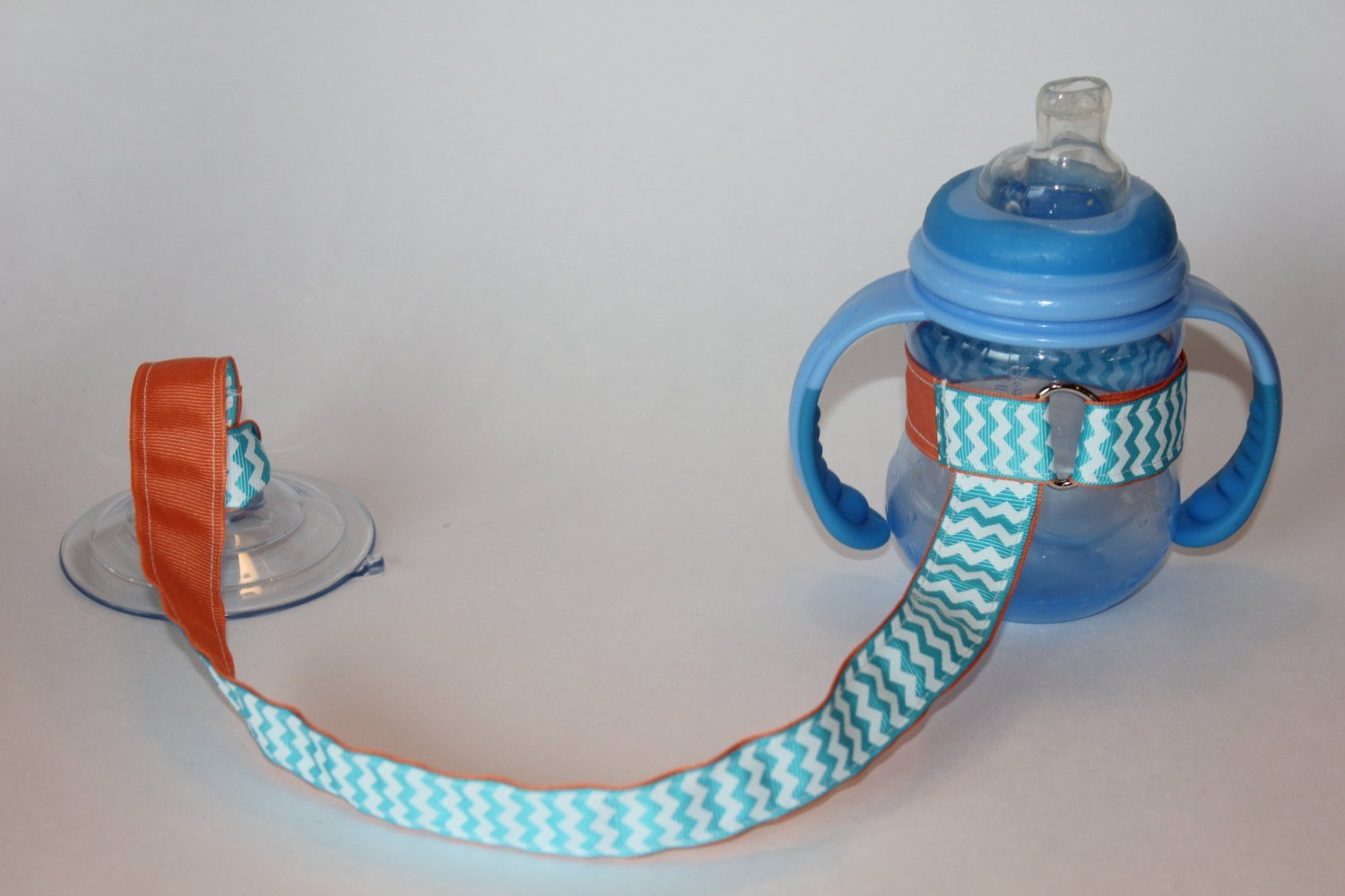 Aqua Chevron Suction Sippy Cup Strap, Sippy Strap, Sippy Cup Leash, Sippy Cup Tether, Bottle Holder, Sippy Leash
