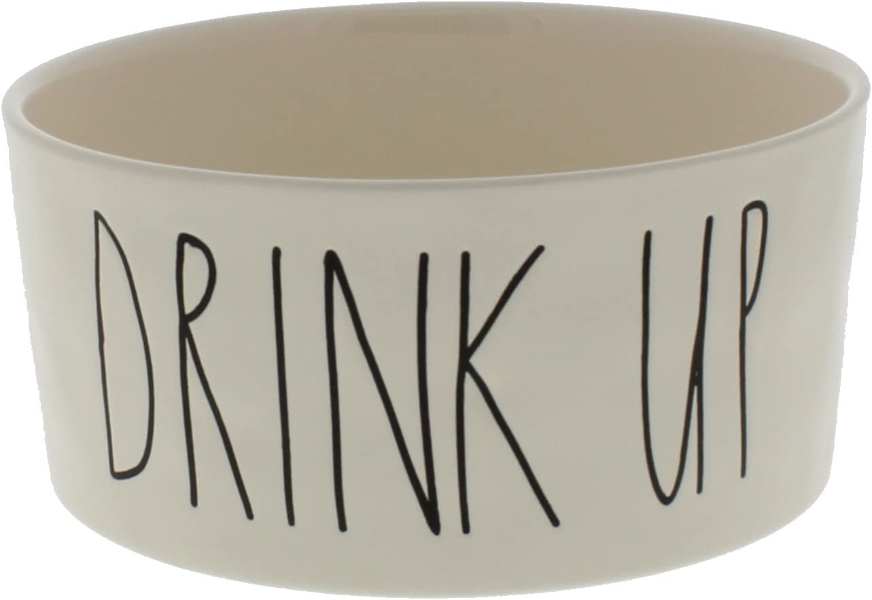 Rae Dunn Magenta Ceramic Pet Bowl Drink Up 6 Inch, Ivory