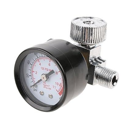 """Homyl Regulador de Aire Bomba de Pulverización De 1/4 """"con Manómetro Interruptor"""