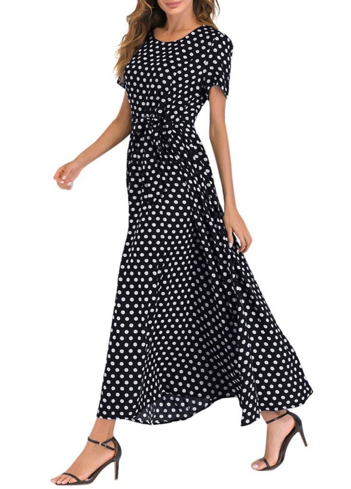 Romacci Women Polka Dot Long Dress Short Sleeves High Waist Tie A-Line Vintage Maxi Dress (L, Black) by Romacci (Image #2)