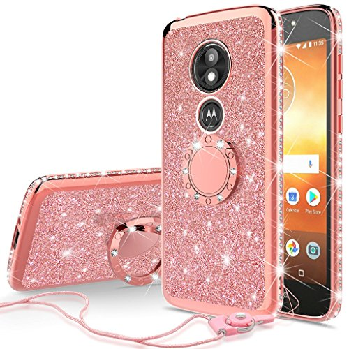 SOGA Diamond Bling Glitter Cute Phone Case with Kickstand Compatible for Motorola Moto E5 Play Case, Motorola Moto E5 Cruise Case,Rhinestone TPU Bumper with Ring Stand Girls Women Cover (Rose Gold)