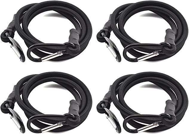 Bungee Cord with Carabiners Super Long 60 Black 6 Pack UV Treated with Superior Latex Core which Lasts Longer than Flat Bungees Strong Wide Mouth Hook Locks onto Anchor Points with Ease