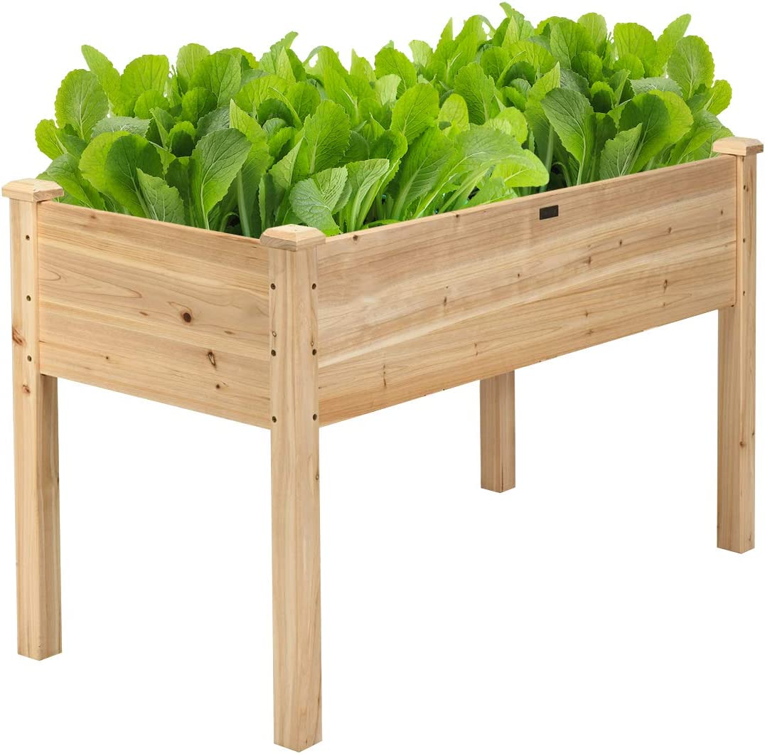 Amazon Com Giantex Raised Garden Bed Kit Elevated Planter Box For Vegetables Fruits Herb Grow Heavy Duty Natural Cedar Wood Frame Gardening Planting Bed For Deck Patio Yard 49 5 X25 X30 0 Garden Outdoor