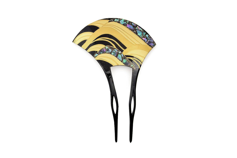 バチ型簪 黒 ブラック 金色 波 螺鈿 らでん 二本足 髪飾り かんざし フォーマル ヘアアクセサリー 日本製 B071RHBLHL