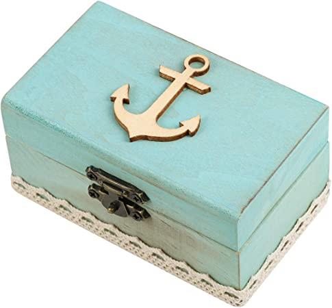 Caja de madera para anillos de boda de PRETYZOOM, con ancla, de madera náutica, para anillos de compromiso, boda, fiesta, decoración: Amazon.es: Hogar