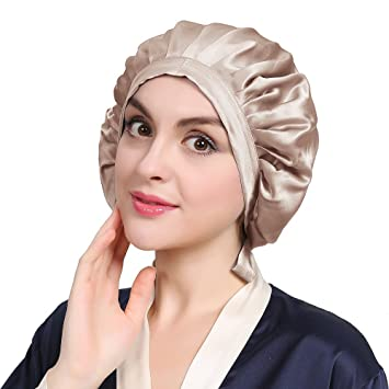 5ffb081dbaed0 LILYSILK Bonnet de Nuit en Soie Pour Femme Bonnet Chapeau Bonnet De Sommeil  Coiffure Soin Cheveux 19 Momme Bistré: Amazon.fr: HygiÚne et Soins du corps