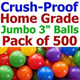 My Balls Pack of 500 Jumbo 3'' Standard Home Grade Ball Pit Balls - 5 Bright Colors; Crush-Proof; Air-Filled; Phthalate Free; BPA Free; non-Toxic; non-PVC; non-Recycled Plastic