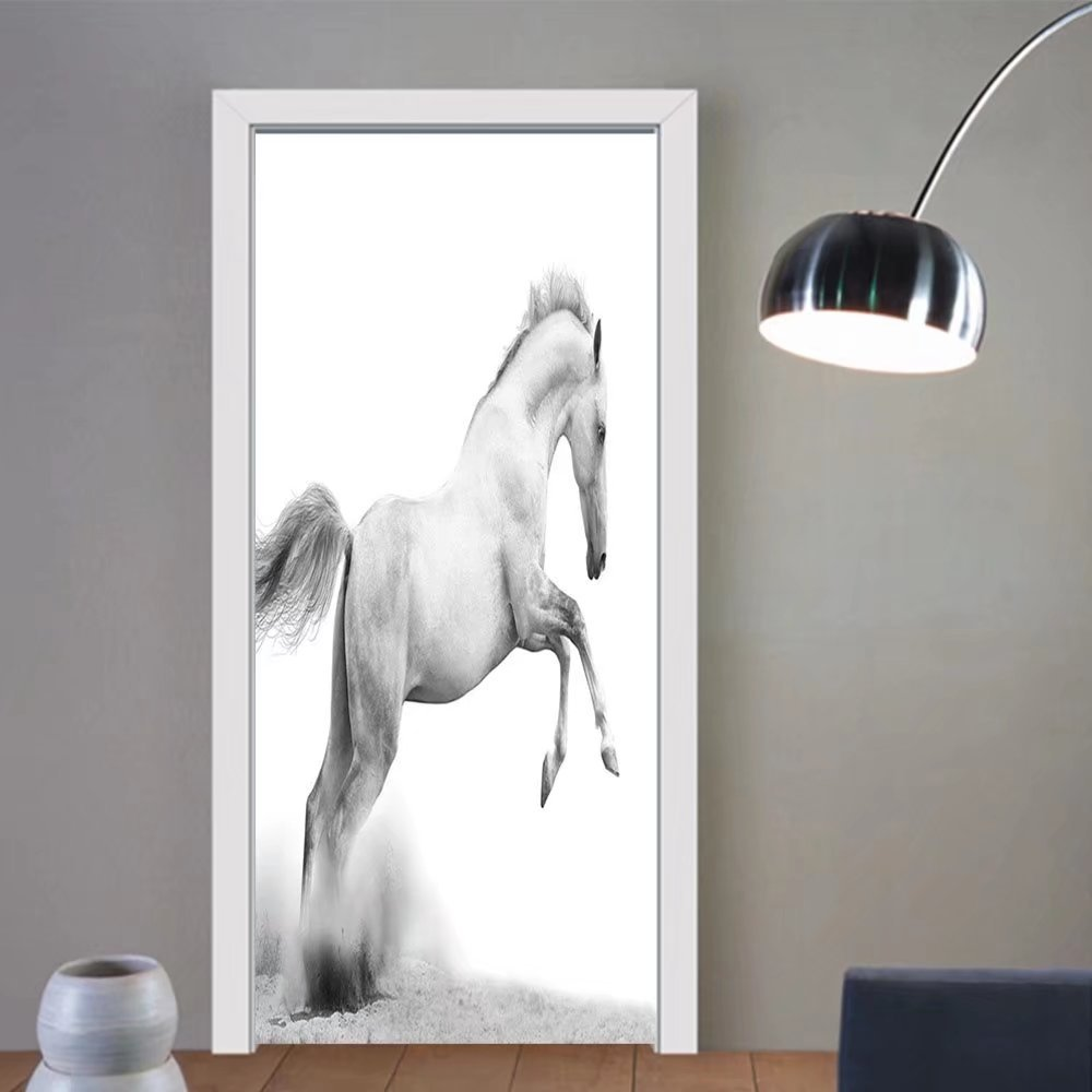 Gzhihine custom made 3d door stickers Animal Decor Collection Horse Power on the Sand Tropic Gulf Island National Seashore Florida Plants LaUIFcape Art Grey For Room Decor 30x79