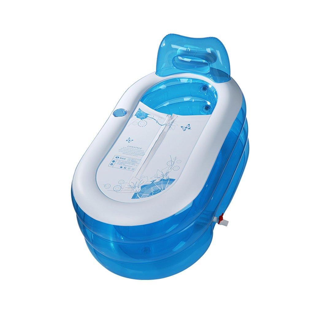 Badewannen ohne Belüftung Faltbare Erwachsene aufblasbare Blauen Transparenten Kinderbadewanne Plastik, Manuelle Luftpumpe (Größe   130  70cm 51.2  27.6inch)