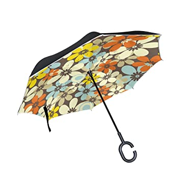MAILIM Paraguas Reversible para Coche, Diseño Vintage de Flores, Color Rojo
