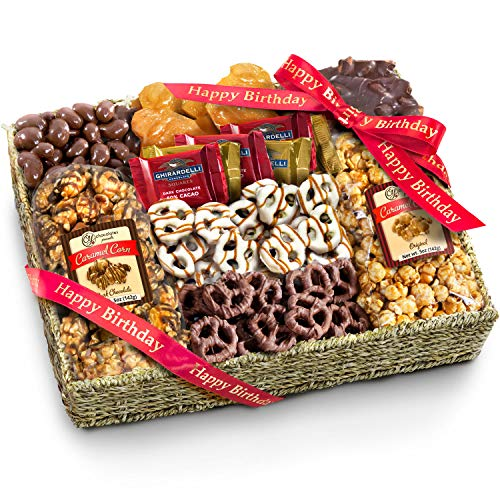 Golden State Fruit Chocolate Caramel & Crunch Grand Gift Basket, Happy Birthday (Birthday Chocolate Fruit Basket)