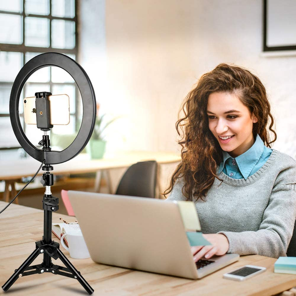 Ldab 12 Selfie Ring Light 10 Inch 360/°Rotating with Tripod Stand /&Cell Phone Holderwith 3 Light Modes3200K//5600K for Live Stream//Makeup//YouTube Video,Bluetooth self-Timer