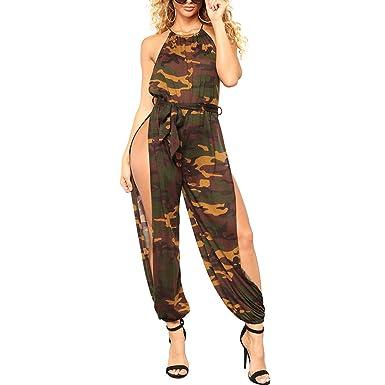 044d3475583 Women Camouflage Jumpsuit Halter Tie Waist Side Split Long Pants Sexy  Rompers  Amazon.co.uk  Clothing