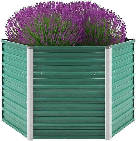 Jardinera de jardín de Acero galvanizado 129x129x77 cm verdeCasa y jardín Jardín Jardinería Macetas y tiestos: Amazon.es: Hogar