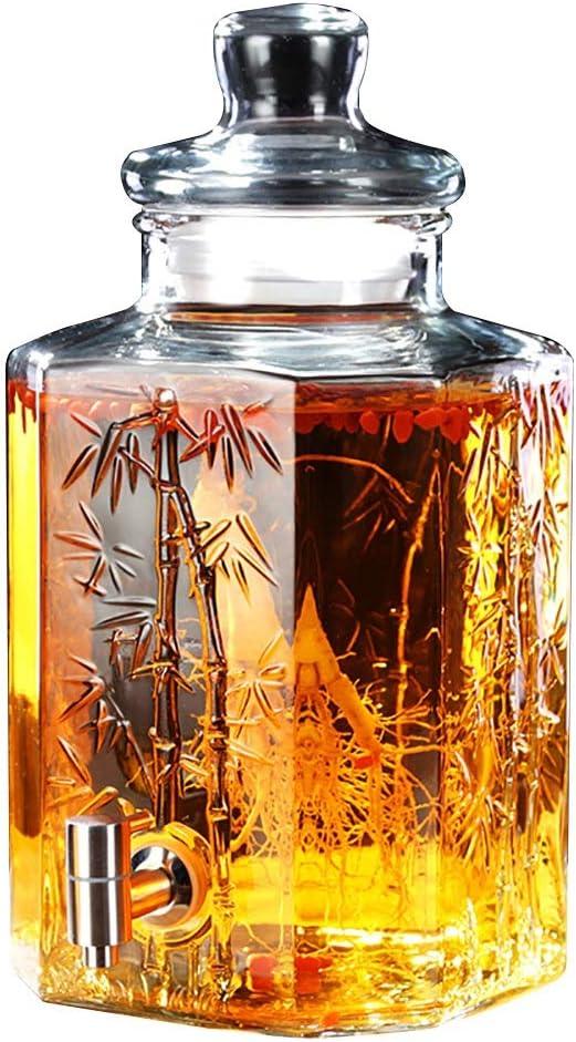 X-L-H 5L / 10L Glass Mason Jar飲料飲料ディスペンサー、漏れのない金属スピゴットとベース、クリア (色 : 10-L-Stainless Steel Spigot)