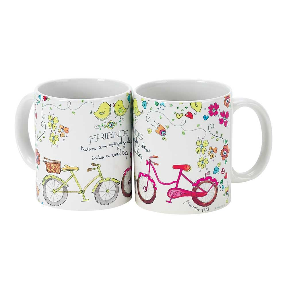 Friends Everyday Road Trip Bicycles Proverbs 17:17 11 Oz. Ceramic Coffee Cup Mug